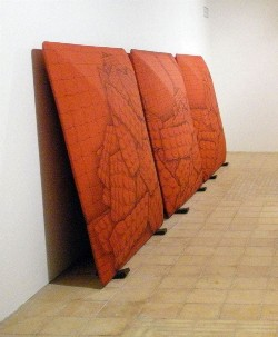 Perino & Vele - Red Room, 2008 pastel on papier-mâchè and iron cm 176,5 x 174,5 x 38,5 each, triptych